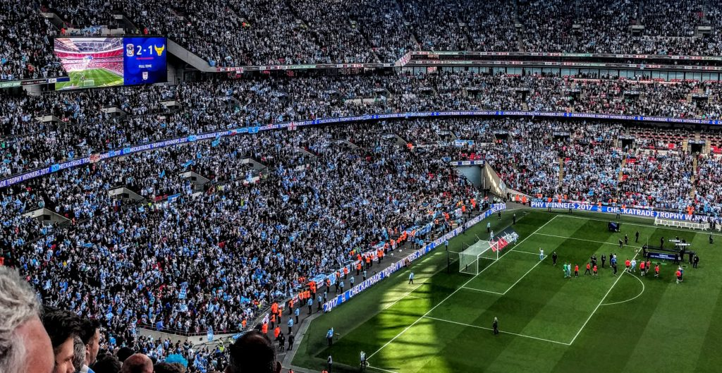Wembley Stadium with Sky Blue fans