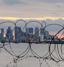 Canary Wharf with razor wire